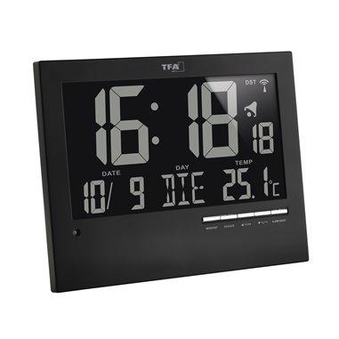 TFA 60.4508 Rádiom riadené hodiny na stenu s automatickým podsvietením 230x185 mm