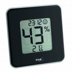 TFA 30.5021.01 Style - digitálny teplomer s vlhkomerom a hodinkami (čierny)
