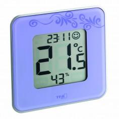 TFA 30.5021.11 Style - digitálny teplomer s vlhkomerom a hodinkami (fialový)